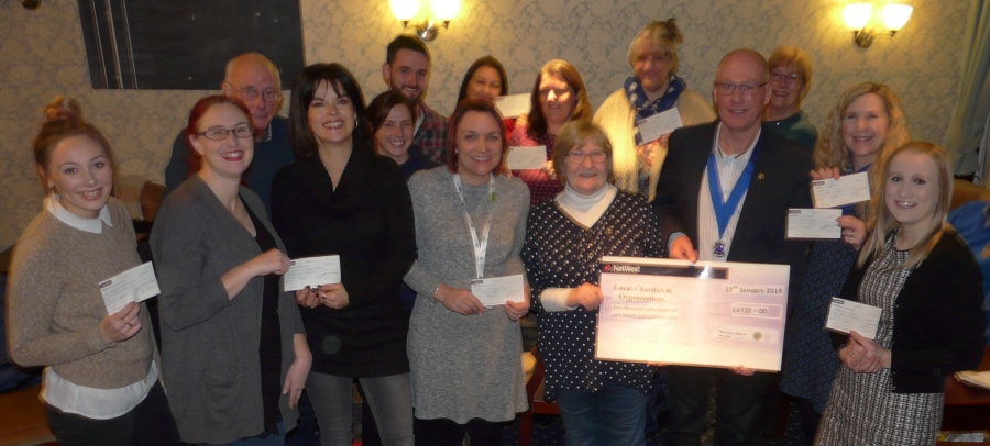 Local causes receiving their cheques for the 2018 Dickens of a Draw